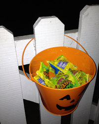 Bucket holding candy
