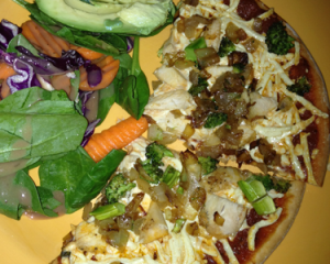 Pizza w/salad and avocado